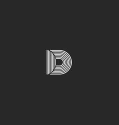d letter logo monogram simple lines black and vector image vector image