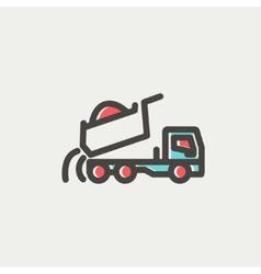 Dump truck thin line icon vector