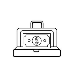 Figure suitcase with green bill money inside vector