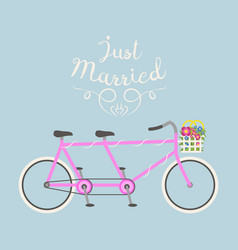 hipster bicycle wedding just marriage flat vector image vector image
