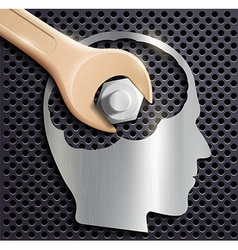 human head and a wrench with a nut vector image