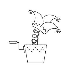 Joke box with harlequin icon vector