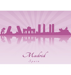 Madrid skyline in purple radiant orchid vector image