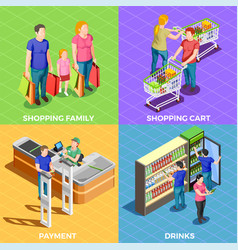 People shopping isometric vector