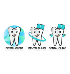 set of dental clinic logo of vector image vector image
