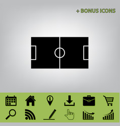 Soccer field black icon at gray vector