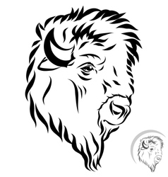 Stylized bison head vector