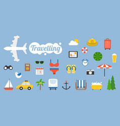 traveling icon and elements in flat design style vector image vector image