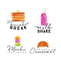 Watercolor label croissant vector image vector image