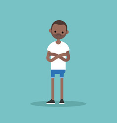 Young sceptical black man crossing arms and vector