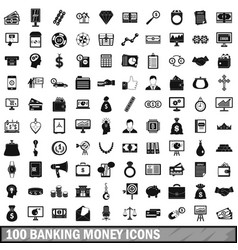 100 banking money icons set simple style vector