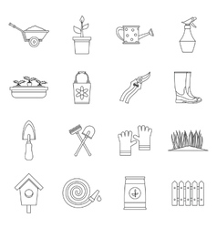 Gardening icons set outline style vector image