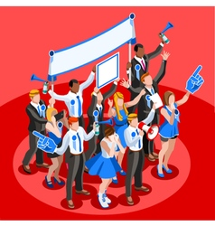 Election infographic cheering crowd isometric vector