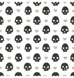 Seamless pattern with skulls and hearts modern vector