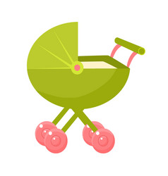 Green stroller with pink wheels and closed hood vector