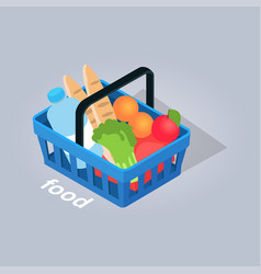 Food in basket from grocery store vector