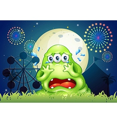 A three-eyed monster crying at the carnival vector