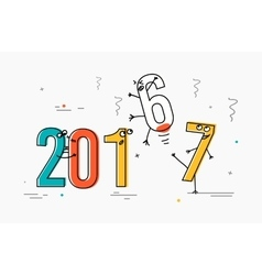 2017 flat line design concept for greeting card vector image vector image
