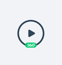 360 degrees video play icon vector