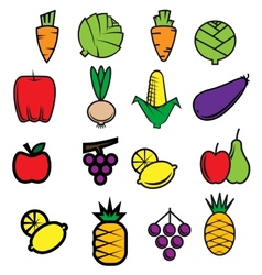 Sketch colorful fresh vegetables and fruits vector