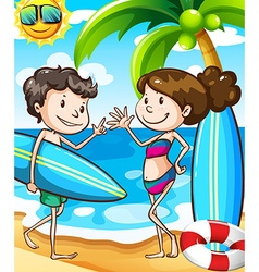 Summer beach scene with boy and girl vector image