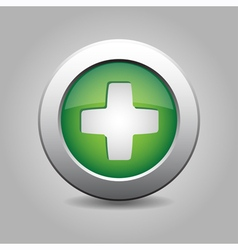 Green metal button with plus vector