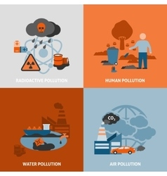 Environmental problems icons set vector