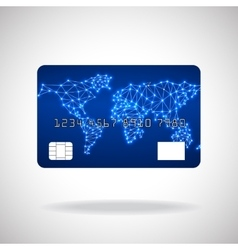 Credit card icon with world map vector