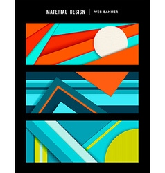 Material design abstract web banner set vector image