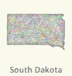 South dakota line art map vector