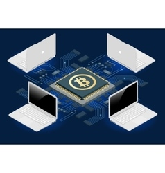 Bitcoin mining equipment digital bitcoin golden vector