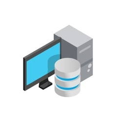 Computer data storage icon isometric 3d style vector