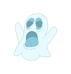 Halloween ghost icon in cartoon style vector