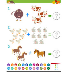 Addition maths activity with animals vector