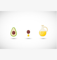 avocado oil flat icons set vector image vector image