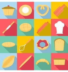 Bakery products icons set flat style vector