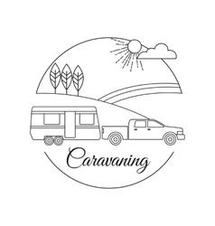 Caravaning tourism outline background vector