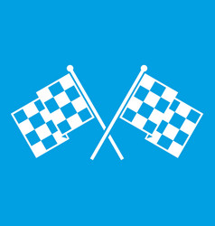 checkered racing flags icon white vector image vector image
