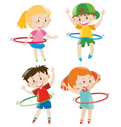 Children playing hula hoops vector