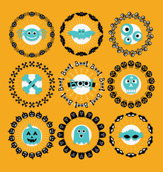 cute halloween circle border pattern emblems set vector image