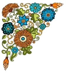 Ethnic floral zentangle doodle background pattern vector image vector image