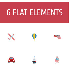 flat icons chopper automobile aircraft and other vector image vector image