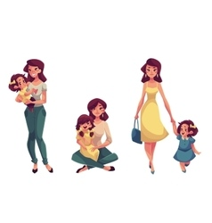 Happy mother holding hugging and walking with her vector image