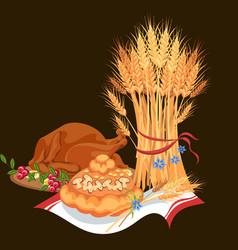 Harvest set organic foods like fruit and vector