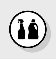 Household chemical bottles sign flat vector