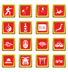 Japan icons set red vector