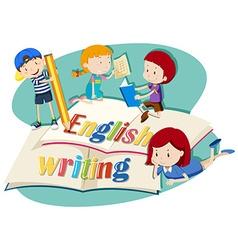 Kids working on english writing vector image vector image