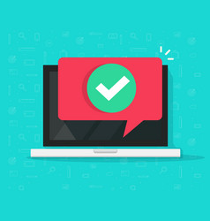 laptop with checkmark or tick notification in vector image vector image