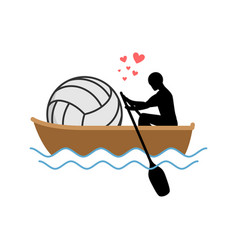 Lover volleyball guy and ball ride in boat lovers vector