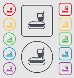 Lunch box icon sign symbol on the round and square vector